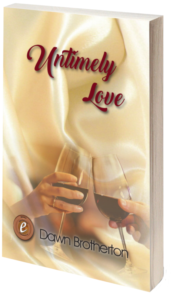 Book cover for Untimely Love showing man's hand and woman's hand clinking red wine glasses