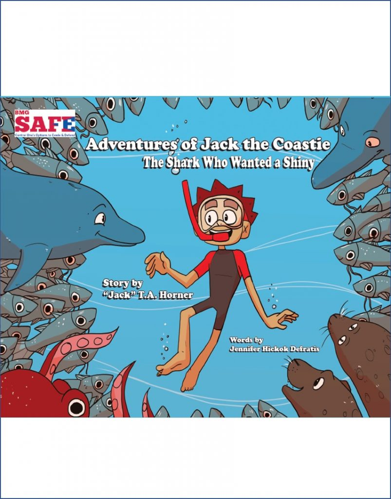 Boy (Jack the Coastie) swimming surrounded by fish, sharks and other ocean creatures.